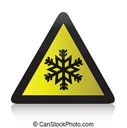 холодно, предупреждение, треугольный, знак
