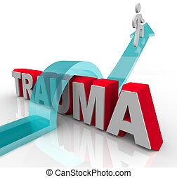 хорошо, слово, положительный, jumps, что ж, реабилитация, symbolizing, человек, отношение, стрела, травма, effects, theraphy, над