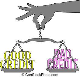 хорошо, человек, scales, выбор, кредит, плохо