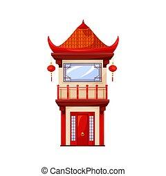 храм, главная, lanterns, пагода, isolated, здание