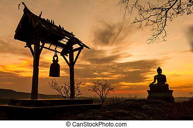храм, thailand., закат солнца, будда, статуя, saraburi, phrabuddhachay