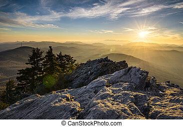 хребет, гора, закат солнца, mountains, аппалачи, синий, автострада, дед, север, каролина, западный, nc