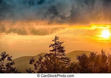 хребет, закат солнца, над, mountains, синий, аппалачи, автострада, осень