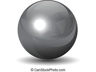 хром, сфера, вектор, металлический