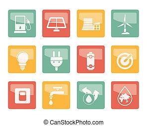 цветной, мощность, icons, экология, энергия, задний план, над