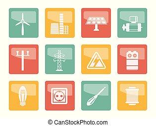 цветной, мощность, icons, электричество, над, задний план