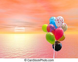 цветной, над, против, кровавый, закат солнца, вечеринка, океан, balloons, красный, гроздь