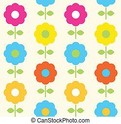 цветок, весна, бесшовный, вектор, дизайн, шаблон