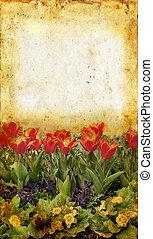 цветок, гранж, сад, задний план