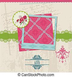 цветок, марочный, рамка, -, вектор, дизайн, карта, фото, альбом, elements