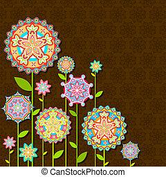 цветок, ретро, красочный