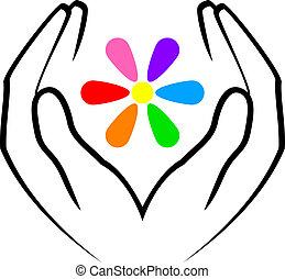 цветок, руки