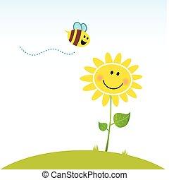 цветок, счастливый, весна, пчела