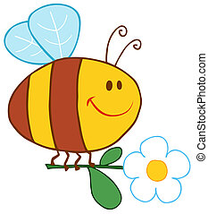 цветок, счастливый, летающий, пчела