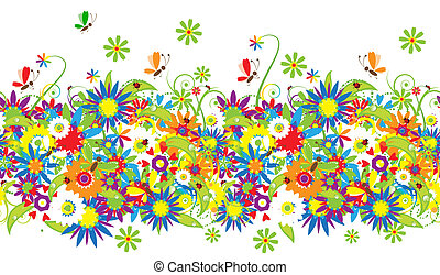 цветочный, букет, иллюстрация, лето