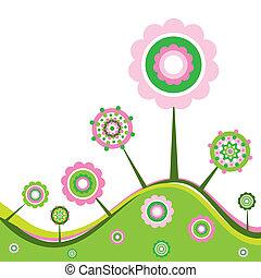цветочный, весна, задний план, вектор