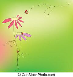 цветочный, весна, лето, карта, ladybirds