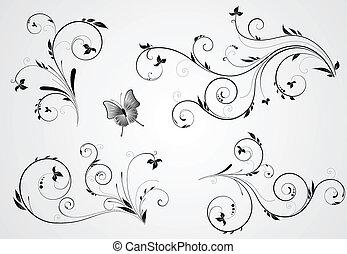 цветочный, водоворот, designs, задавать