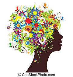 цветочный, глава, силуэт