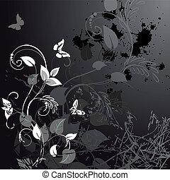 цветочный, гранж, butterflies, дизайн