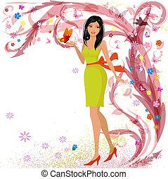 цветочный, девушка, мода, дизайн, ваш