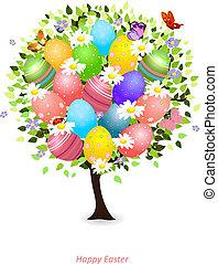 цветочный, дизайн, дерево, ваш, пасха