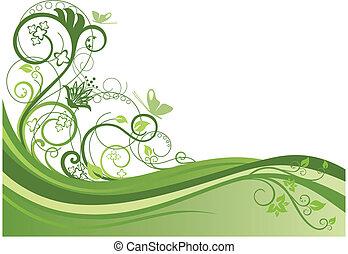 цветочный, дизайн, 1, граница, зеленый