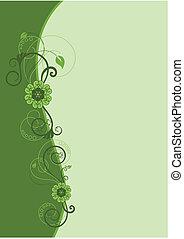 цветочный, дизайн, 2, граница, зеленый