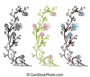цветочный, дизайн, isolated