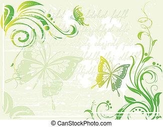 цветочный, зеленый, гранж, задний план, элемент