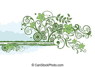 цветочный, зеленый, граница, элемент