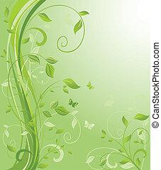 цветочный, зеленый, задний план
