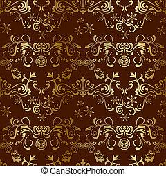 цветочный, коричневый, бесшовный, шаблон