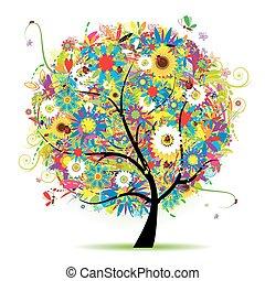 цветочный, лето, дерево, красивая