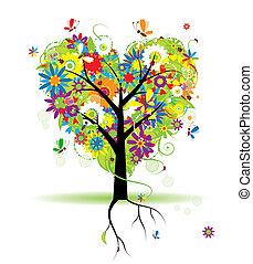 цветочный, лето, форма, дерево, сердце