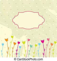 цветочный, марочный, рамка, вектор, задний план