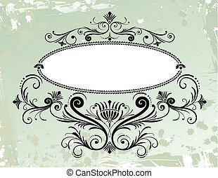 цветочный, орнамент, рамка, гранж, задний план