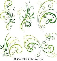 цветочный, орнамент, свиток