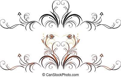 цветочный, оформление, elements, два