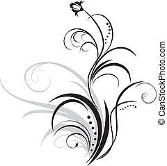 цветочный, оформление, sprig., элемент