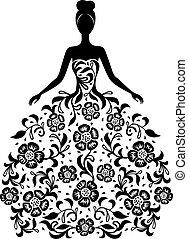 цветочный, платье, девушка, орнамент, силуэт