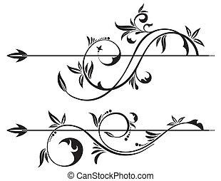 цветочный, свиток, элемент