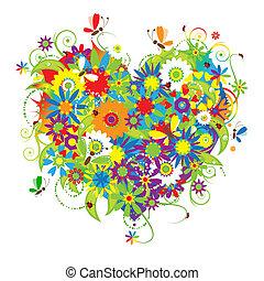 цветочный, сердце, люблю, форма