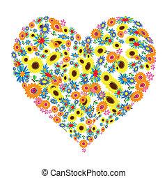 цветочный, сердце, форма, дизайн