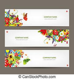цветочный, стиль, дизайн, banners, ваш