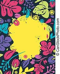 цветочный, тропический, рамка, задний план, иллюстрация