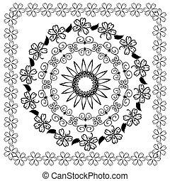 цветочный, шаблон, абстрактные, арабеска