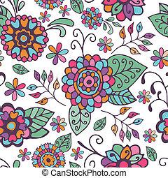 цветочный, шаблон, белый, бесшовный, задний план