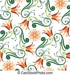 цветочный, шаблон, белый, задний план