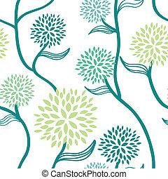 цветочный, шаблон, белый, синий, зеленый
